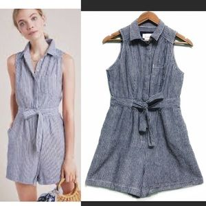 Anthropologie Linen Blend Stripe Down Romper